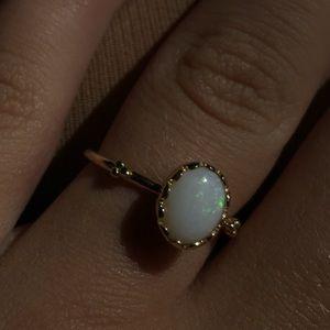 PANDORA soft sweetness white opal & 1 ring SIZE 7